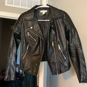 Black motorcycle style faux leather jacket
